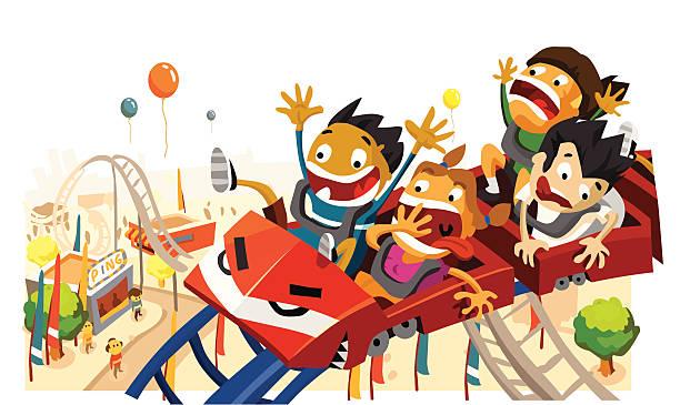 ilustraciones, imágenes clip art, dibujos animados e iconos de stock de diversión para los niños en la montaña rusa - roller coaster