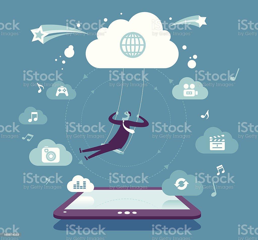 Fun & Cloud computing royalty-free stock vector art