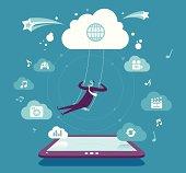 Vector illustration - Fun & Cloud computing concept