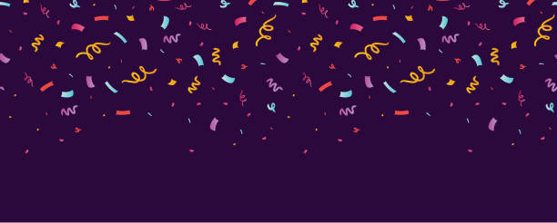 Fun confetti purple horizontal seamless border. Fun confetti purple horizontal seamless border. Great for a birthday party or an event celebration invitation or decor. Surface pattern design. birthday background stock illustrations