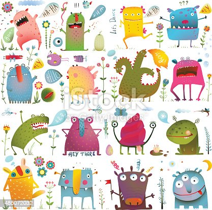 istock Fun Cute Cartoon Monsters for Kids Design Collection 485072032