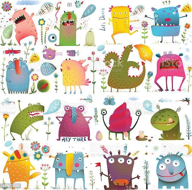 Fun cute cartoon monsters for kids design collection vector id485072032?b=1&k=6&m=485072032&s=612x612&h=4nxhooio4yf15tq wy3qrp3ngzxzpwccanvewdx3iss=