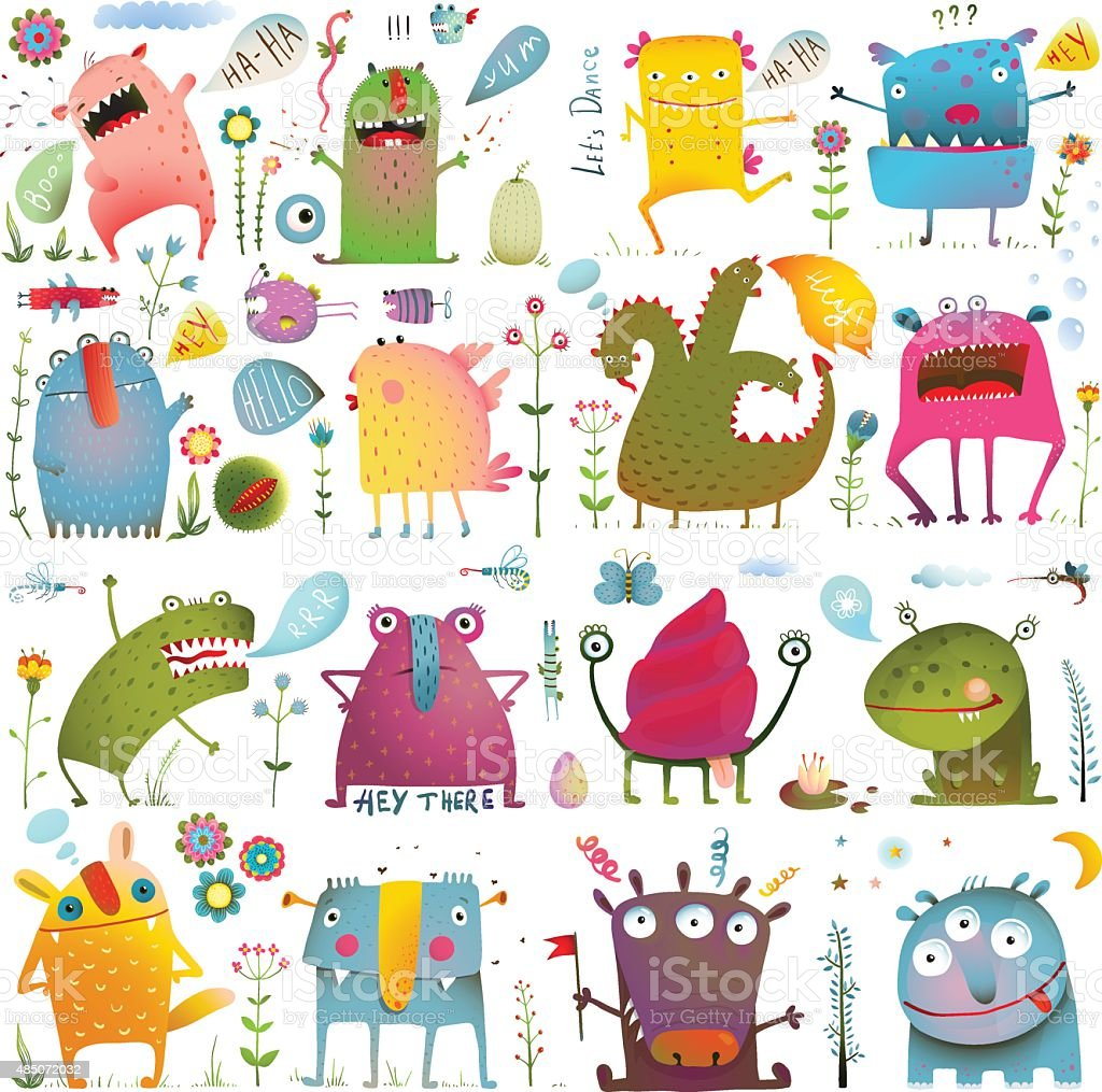 Fun Cute Cartoon Monsters for Kids Design Collection vector art illustration