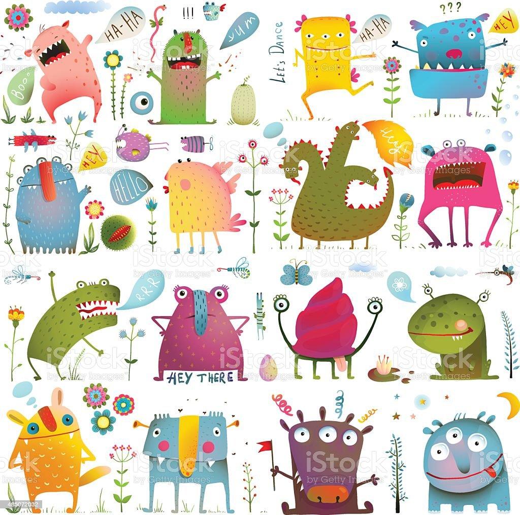 Divertido desenho bonito Monstros para crianças Design Collection - ilustração de arte em vetor
