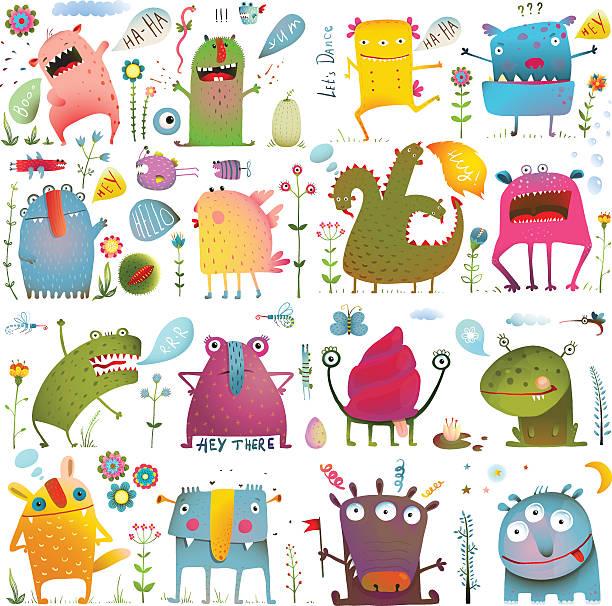 ilustraciones, imágenes clip art, dibujos animados e iconos de stock de diversión adorables dibujos animados monstruos para niños de diseño colección - monstruo