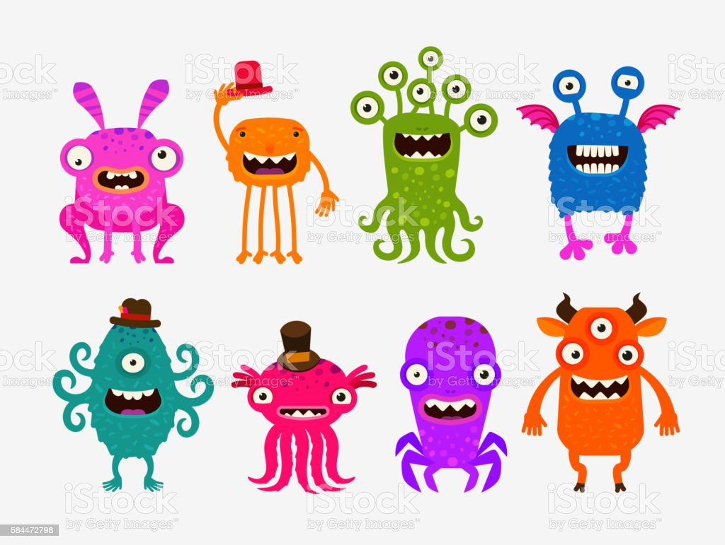 Fun cute cartoon monsters. Set icons vector illustration vector art illustration