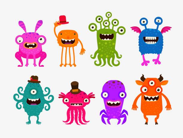 ilustraciones, imágenes clip art, dibujos animados e iconos de stock de fun cute cartoon monsters. set icons vector illustration - monstruo