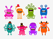 Fun cute cartoon monsters. Set icons vector illustration