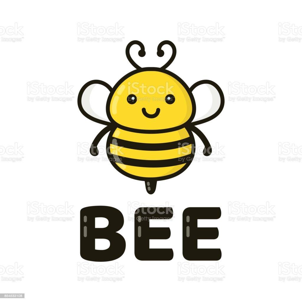Amusant cute abeille souriant heureux. Vector - Illustration vectorielle