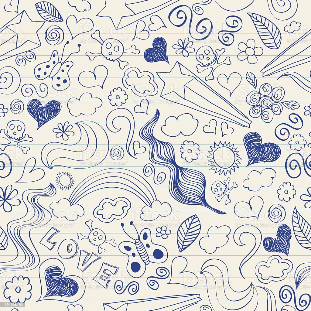 A fun doodles of hearts, stars, sun, rainbow, love and cloud royalty-free stock vector art