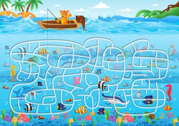 ilustrações de stock, clip art, desenhos animados e ícones de fun educational ocean underwater theme maze puzzle games for children illustration - enjoying wealthy life