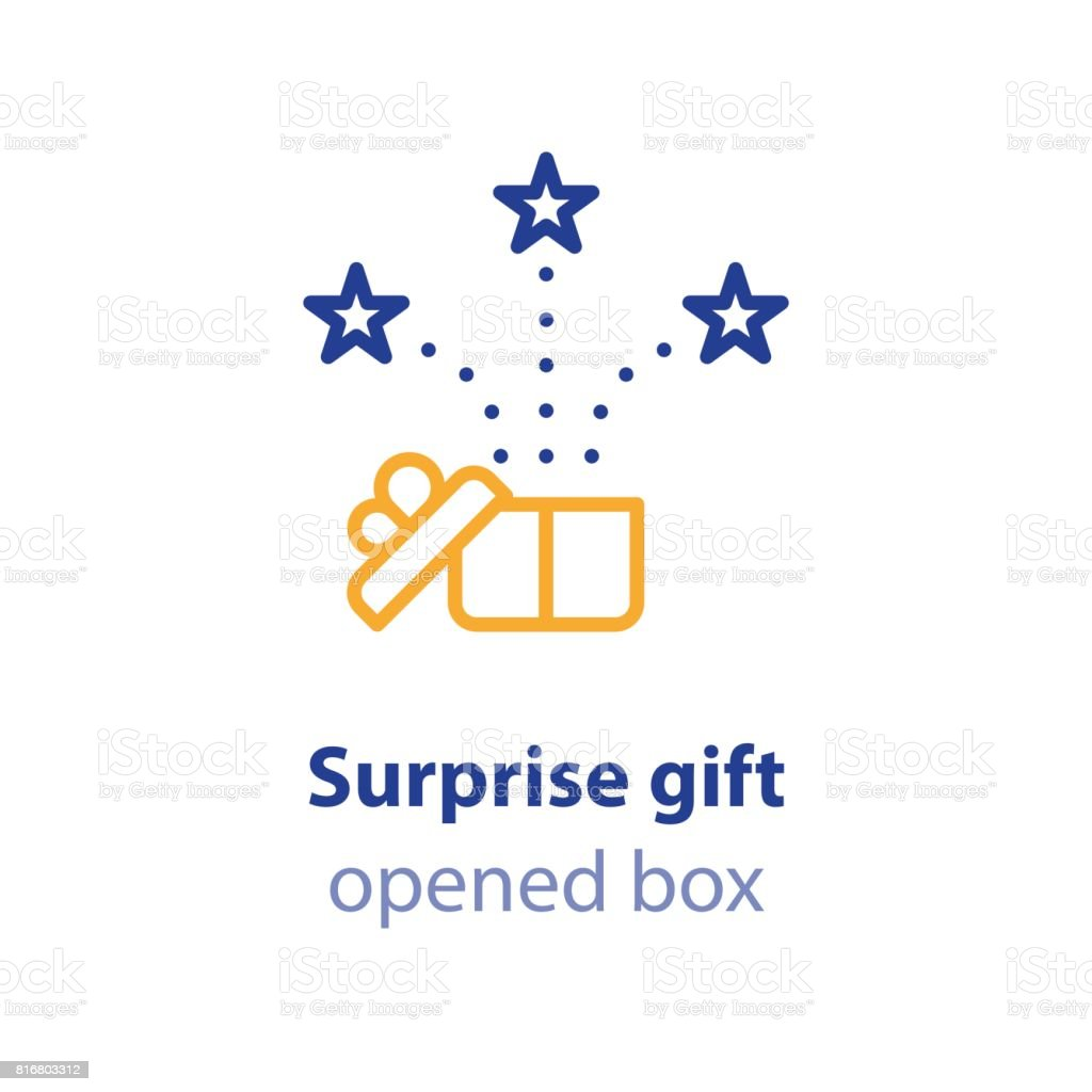 Fun experience, celebration event, receive gift box, open present vector art illustration