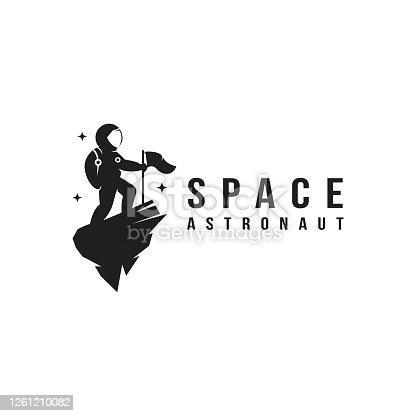 istock Fun explorer space astronaut mascot icon vector template 1261210082