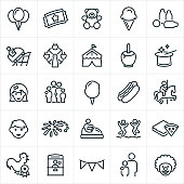 A set of fun fair or carnival icons. The icons include balloons, admission ticket, teddy bear, ice cream cone, games, milk bottles, roller coaster, ferris wheel, carnival tent, caramel apple, magician, girl, boy, family, cotton candy, hotdog, food, merry go round, fireworks, bumper cars, bounce house, pizza, children, children paying, award, ticket booth and clown.