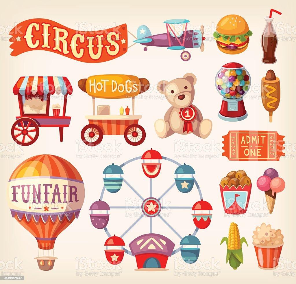 Fun fair icons vector art illustration