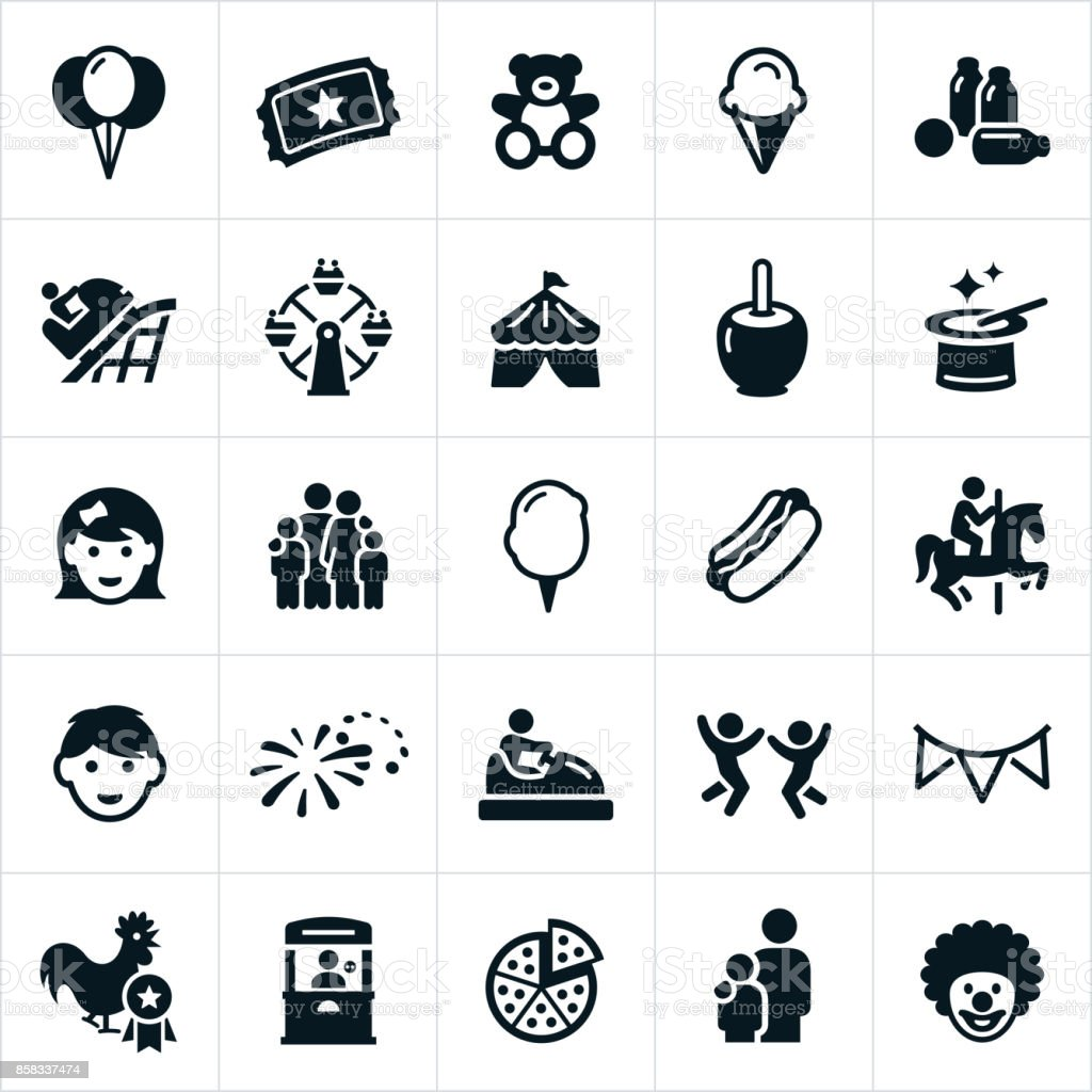 Fun Fair Icons vector art illustration