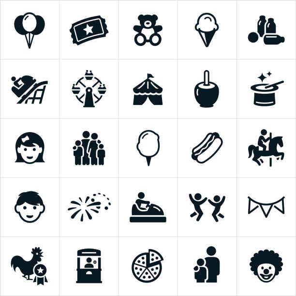 Fun Fair Icons Icons related to a fair or carnival. The icons include balloons, admission ticket, teddy bear, ice cream cone, games, roller coaster, ferris wheel, circus tent, magician hat, boy, girl, family, cotton candy, hot dog, bumper cars, fireworks and clown to name a few. farmer's market stock illustrations