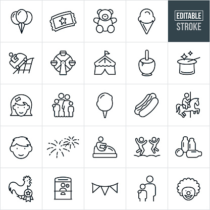 Fun Fair Thin Line Icons - Editable Stroke
