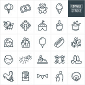 A set of fun fair icons that include editable strokes or outlines using the EPS vector file. The icons include balloons, carnival ticket, teddy bear, ice cream cone, amusement park ride, ferris wheel, circus tent, Carmel apple, magicians hat, little girl, little boy, family, cotton candy, hotdog, carousel, fireworks, bumper cars, bounce house, fair games, ticket booth, clown and other related icons.