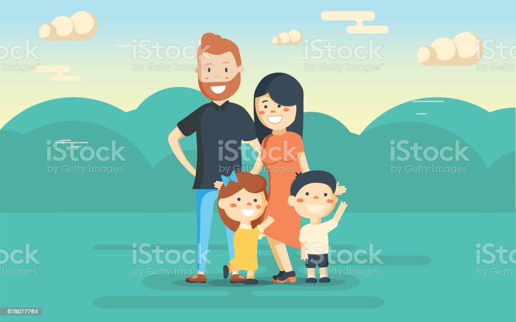 Fun family in the park. Rest at nature. vector art illustration