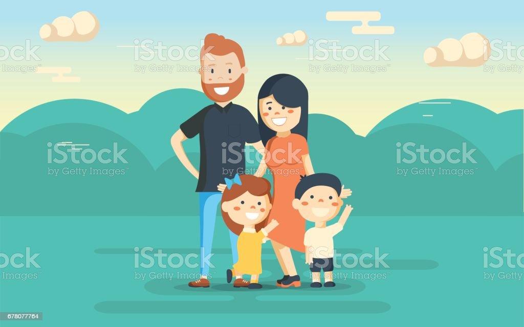 Diversión familiar en el parque. Descansar en la naturaleza. - ilustración de arte vectorial