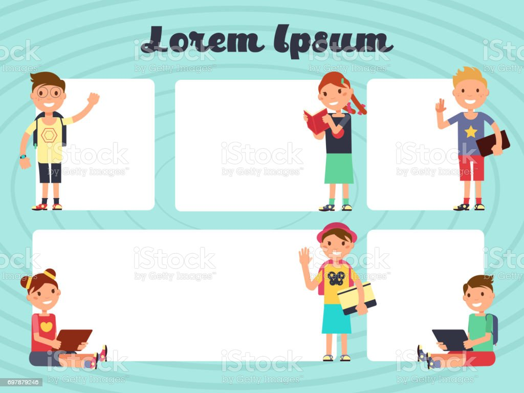 Fun Frames Kids Layout Vector Texting Brochure Backgrounds With ...