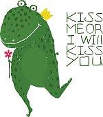 Fun Green Magic Frog Asking for Kiss Smiling