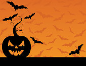 Jack O' Lantern Halloween Pumpkin Background. Lots of room for text. Cute pattern in background.