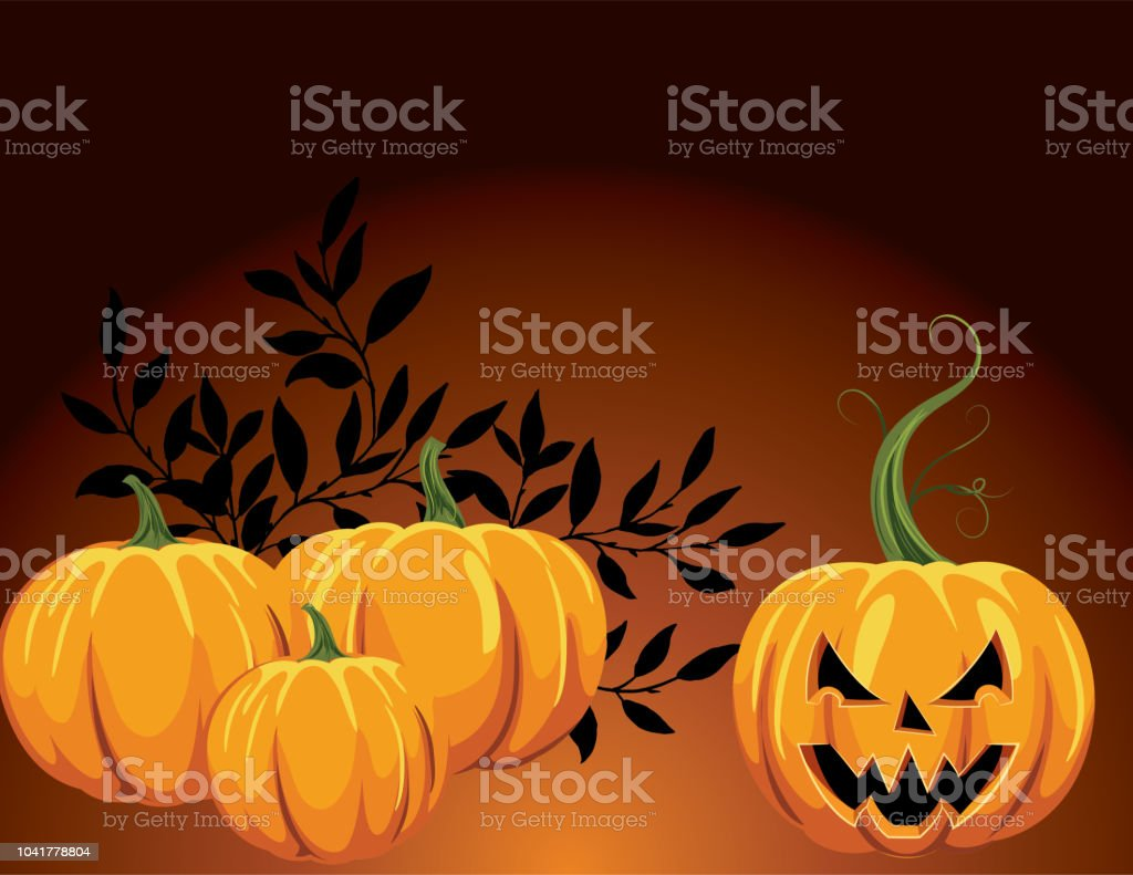 fun halloween background with pumpkins and jack o lantern stock