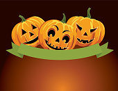 Jack O' Lantern  and Halloween Pumpkin Background. Lots of room for text.