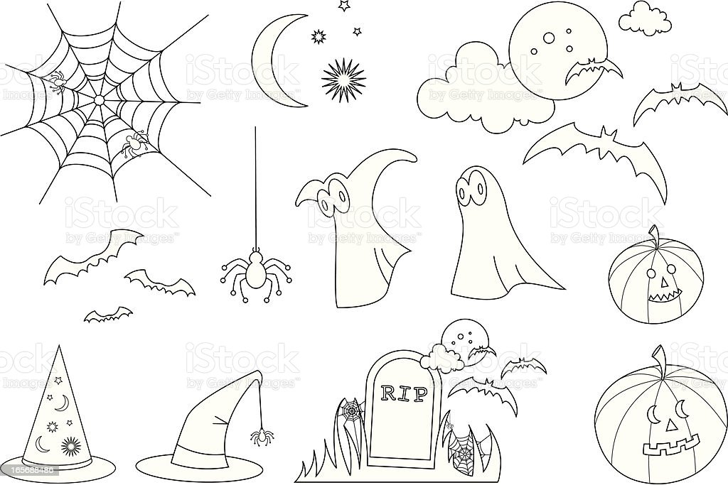 Fun Halloween Icons And Symbols In Outline Stock Vector Art More