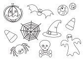Cute friendly Halloween icons in outline - ideal for colouring in.