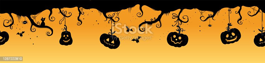 istock Fun hand drawn horizontal halloween seamless pattern, spooky branches and spiderwebs, pumpkins and bats - great for textiles, banners wrapping - vector design 1257222810