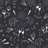 Fun hand drawn New Years Party seamless pattern - firework, paper streamers, cocktails and rockets doodles, great for banners, wallpapers, textiles, wrapping - vector design