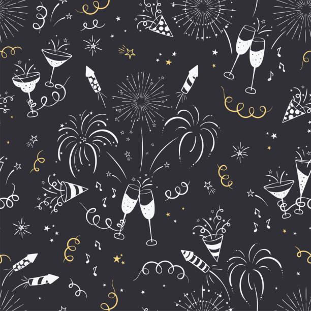 ilustrações, clipart, desenhos animados e ícones de fun mão desenhado new years party padrão sem costura - fogo de artifício, flâmulas de papel, coquetéis e foguetes doodles, ótimo para banners, papéis de parede, têxteis, embalagem - design vetorial - new year