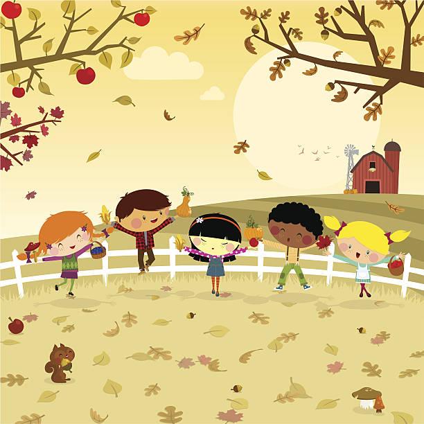 bildbanksillustrationer, clip art samt tecknat material och ikoner med fun harvest. kids fall autumn illustration vector - children autumn