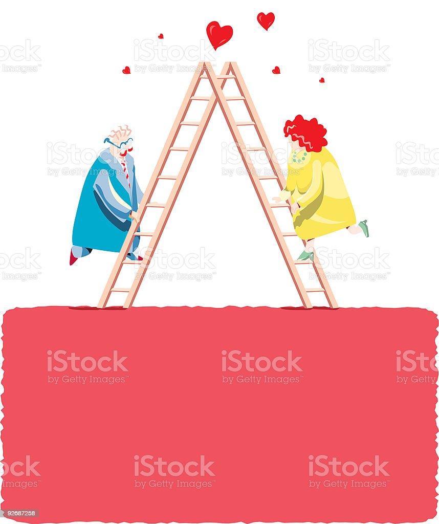 Fun illustration of two mature lovers vector art illustration