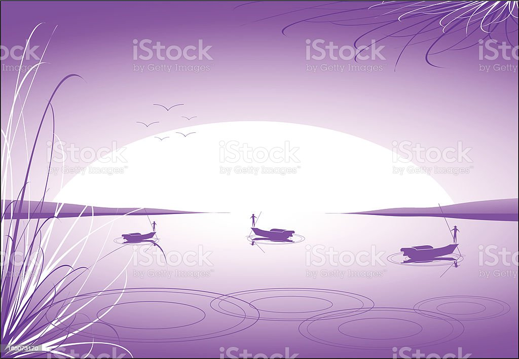 Fun In Boats Scenic Background royalty-free stock vector art