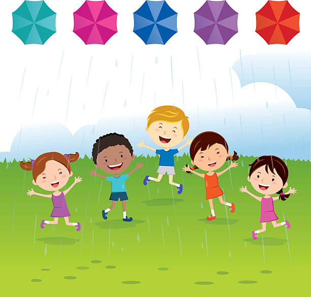 Best Kids Playing In Rain Illustrations, Royalty-Free ...
