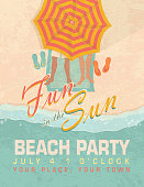 Pastel retro Fun in the Sun sand Beach party template invitation design template. Features sandy background, feet under umbrella, flip flops, legs on beach towel. Sample text design and Summer Fun Beach Party text design. Easy to edit with color scheme and layout elements on a separate layer. Summer fun, beach party, beach house, spring break.