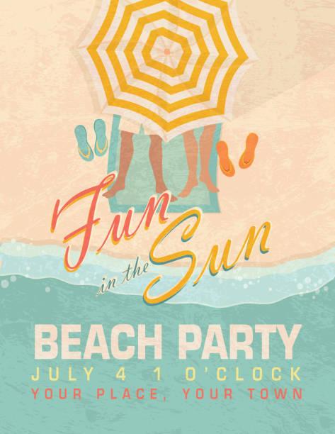 太陽の下で砂浜のビーチでのパーティの招待状のデザインテンプレート ベクターアートイラスト