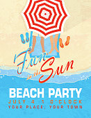 Fun in the Sun sand Beach party template invitation design