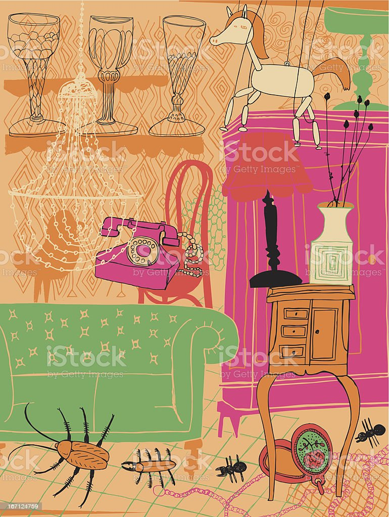 Fun interior vector art illustration