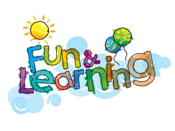 ilustraciones, imágenes clip art, dibujos animados e iconos de stock de diversión y aprendizaje - tipos de letra de historietas