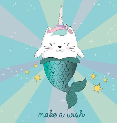 Fun magic cat unicorn and mermaid. Vector cartoon charters.