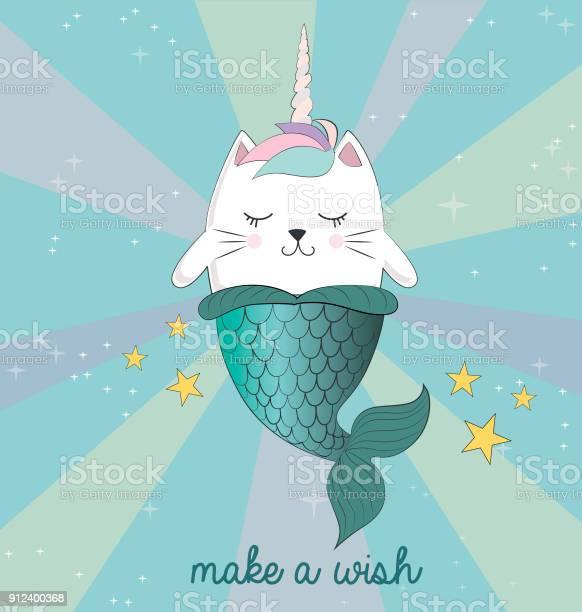 Fun magic cat unicorn and mermaid vector cartoon charters vector id912400368?b=1&k=6&m=912400368&s=612x612&h=ce7qiyekvjnf3gf33bpk1on101zu99m2gnjigsjulj8=
