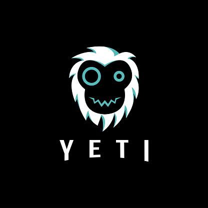 Fun minimalist yeti head face vector on black background