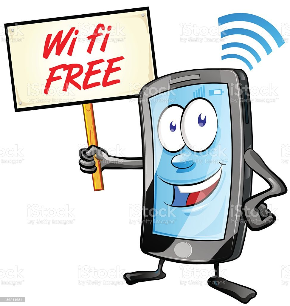 fun mobile cartoon with wi fi signboard vector art illustration