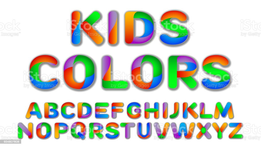 Fun Multi Color Kids Custom Font Royalty Free