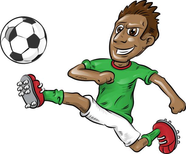 fun nigerian soccer player cartoon vector art illustration